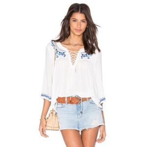 Lovers+Friends Marine Embroidered Lace Up Top